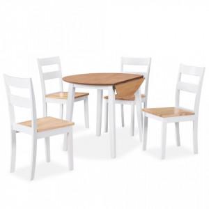 Set mobilier de bucatarie, 5 piese, MDF si lemn de hevea, alb - V274943V