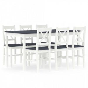 Set mobilier de bucatarie, 7 piese, alb si gri, lemn de pin - V283376V