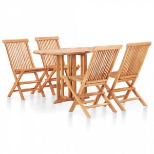 Set mobilier de exterior pliabil, 5 piese, lemn masiv de tec - V49003V
