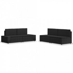 Set mobilier de gradina, 4 piese, negru, poliratan - V3054581V