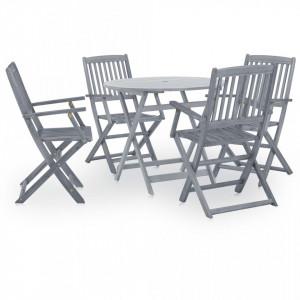 Set mobilier de gradina, 5 piese, gri, lemn masiv de acacia - V46349V