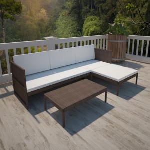 Set mobilier de gradina cu perne, 3 piese, maro, poliratan - V41381V