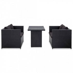 Set mobilier de gradina cu perne, 3 piese, negru, poliratan - V46397V