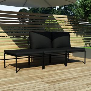 Set mobilier de gradina cu perne, 3 piese, negru, PVC - V48593V