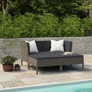 Set mobilier de gradina cu perne, 4 piese, gri, poliratan - V3056968V