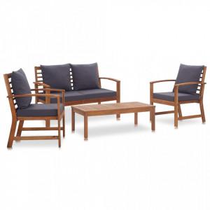 Set mobilier de gradina cu perne, 4 piese, lemn masiv de acacia - V47284V