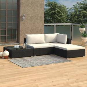 Set mobilier de gradina cu perne, 4 piese, negru, poliratan - V46778V