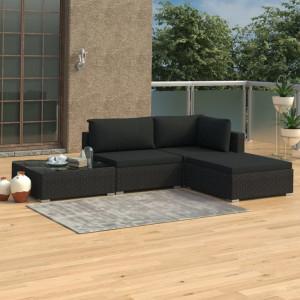 Set mobilier de gradina cu perne, 4 piese, negru, poliratan - V46780V