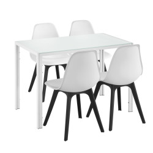 Set Xenia masa cu 4 scaune design, masa 105 x 60 cm, scaun 83 x 54 cm, sticla/metal/plastic, alb/negru - P58630807