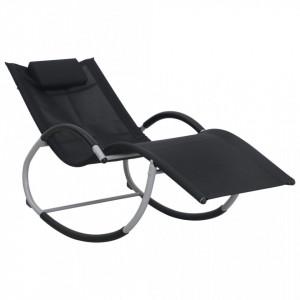 Sezlong cu perna, negru, textilena - V47788V
