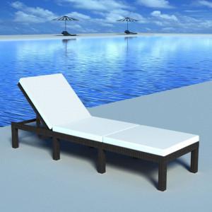Sezlong de plaja cu perna, negru, poliratan - V42846V