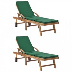 Sezlonguri cu perne, 2 buc., verde, lemn masiv de tec - V3054635V
