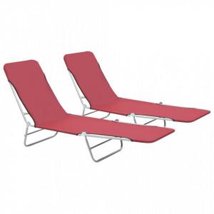 Sezlonguri de plaja pliabile, 2 buc., rosu, otel & textil - V44301V
