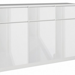 TECOA101 - Comoda 120 x 40 x 97 cm, Alb-Lucios