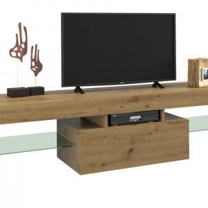 TECTV6 - Comoda TV 160 cm, living - Alb lucios, Negru lucios, Stejar
