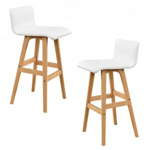 2 x scaune desing capitonate pentru bar - alb - P53829263