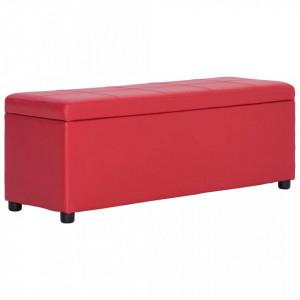 Banca, compartiment de depozitare, rosu, 116 cm piele ecologica - V281314V