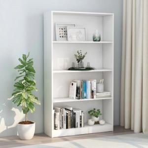 Biblioteca cu 4 rafturi, alb, 80 x 24 x 142 cm, PAL - V800909V