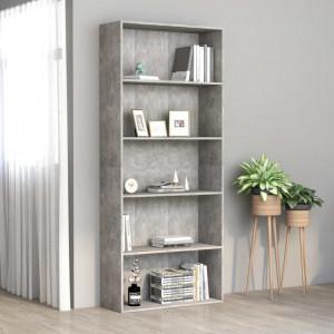 Biblioteca cu 5 rafturi, gri beton, 80 x 30 x 189 cm, PAL - V801030V