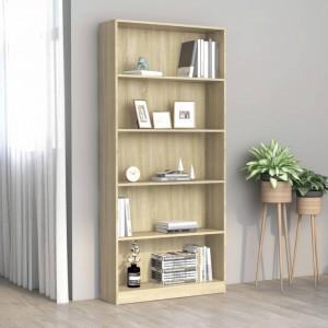 Biblioteca cu 5 rafturi, stejar Sonoma, 80 x 24 x 175 cm, PAL - V800921V