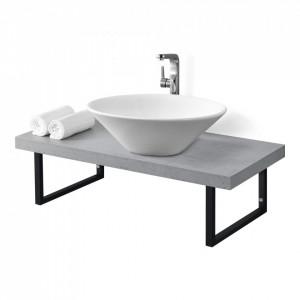 Blat pentru lavoar ABBR-78xxW, 100 x 45 x 30 cm, PAL//metal, beton inchis / negru mat, cu suport metalic - P71649880