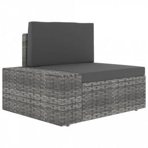 Canapea de colt modulara cu cotiera dreapta, gri, poliratan - V49520V
