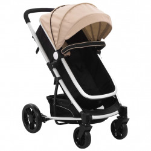 Carut/landou pentru copii 2-in-1, gri taupe si negru, aluminiu - V10154V