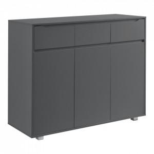 Comoda Hallefors DG3 cu 3 sertare si 3 dulapuri cu usi, 101,5 x 120 x 48 cm, PAL/invelis melamina, gri inchis - P72528811