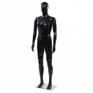 Corp manechin masculin, suport din sticla, Negru lucios 185 cm - V142927V
