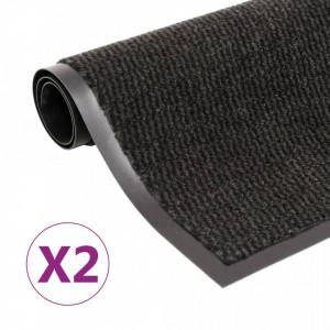 Covoare usa anti-praf dreptunghiular, 2 buc. negru, 120x180 cm - V3051618V