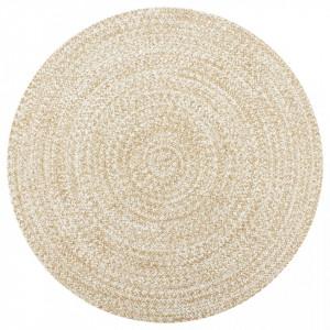 Covor manual, alb si natural, 150 cm, iuta - V133724V