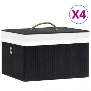 Cutii de depozitare, 4 buc., negru, bambus - V320769V