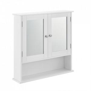 Dulap baie Beatrice, 58 x 56 x 13 cm, placa MDF, lacuit, alb, montabil pe perete - P57498336