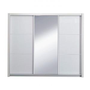 Dulap cu uşi glisante, alb/alb lucios, 258X213, ASIENA