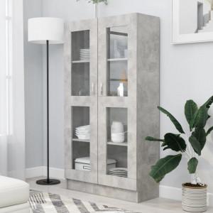 Dulap cu vitrina, gri beton, 82,5 x 30,5 x 150 cm, PAL - V802763V