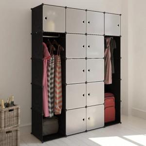 Dulap modular 14 compartimente alb si negru 37 x 146 x 180,5 cm - V240499V