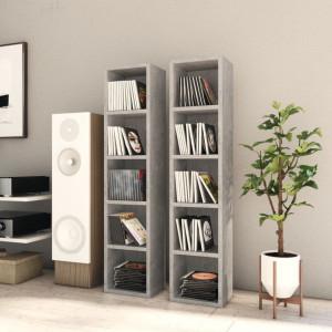 Dulapuri CD-uri, 2 buc., gri beton, 21 x 16 x 93,5 cm, PAL - V802700V