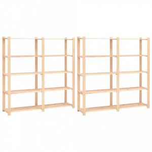 Etajere cu 5 rafturi, 2 buc, 170x38x170 cm, lemn de pin, 500 kg - V3051109V