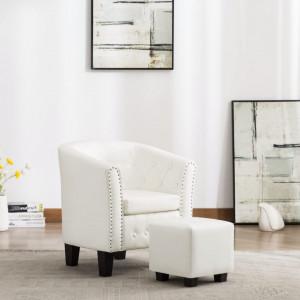 Fotoliu cu taburet, alb, piele ecologica - V248068V