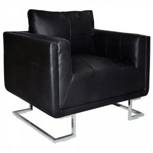 Fotoliu cub, picioare cromate, negru, piele ecologica - V241004V
