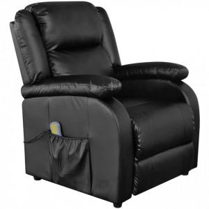 Fotoliu de masaj, negru, piele ecologica - V242512V