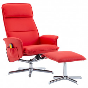 Fotoliu de masaj rabatabil cu taburet, rosu, piele ecologica - V289848V