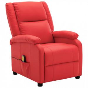 Fotoliu de masaj rabatabil, rosu, piele ecologica - V322434V