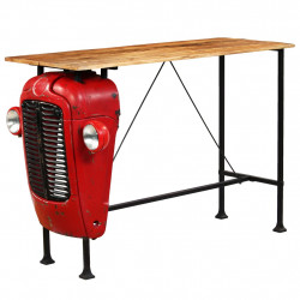 Masa bar, stil tractor, lemn masiv mango, rosu, 60x150x107 cm - V246237V