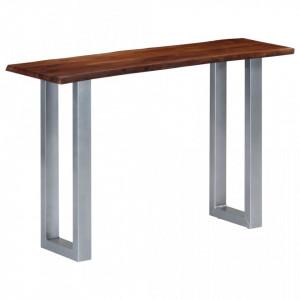 Masa consola, 115x35x76 cm, lemn masiv de acacia si fier - V247830V