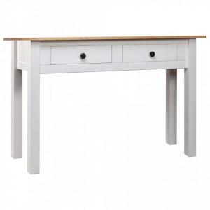 Masa consola, alb, 100x40x72 cm, lemn masiv de pin, gama Panama - V282681V