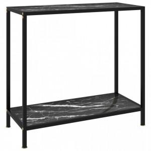 Masa consola, negru, 80 x 35 x 75 cm, sticla securizata - V322834V