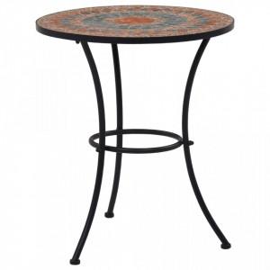 Masa de bistro mozaic, portocaliu/gri, 60 cm, ceramica - V46717V