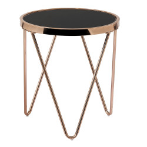 Masă de colţ/ laterală, auriu roz crom roz / negru, VALERO