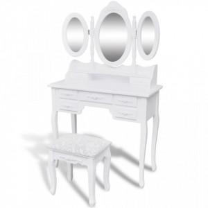 Masa de toaleta cu taburet si 3 oglinzi, alb - V241483V